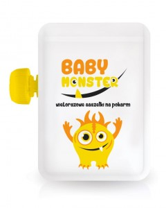 Baby Monster - Saszetka wielorazowa na pokarm 100ml
